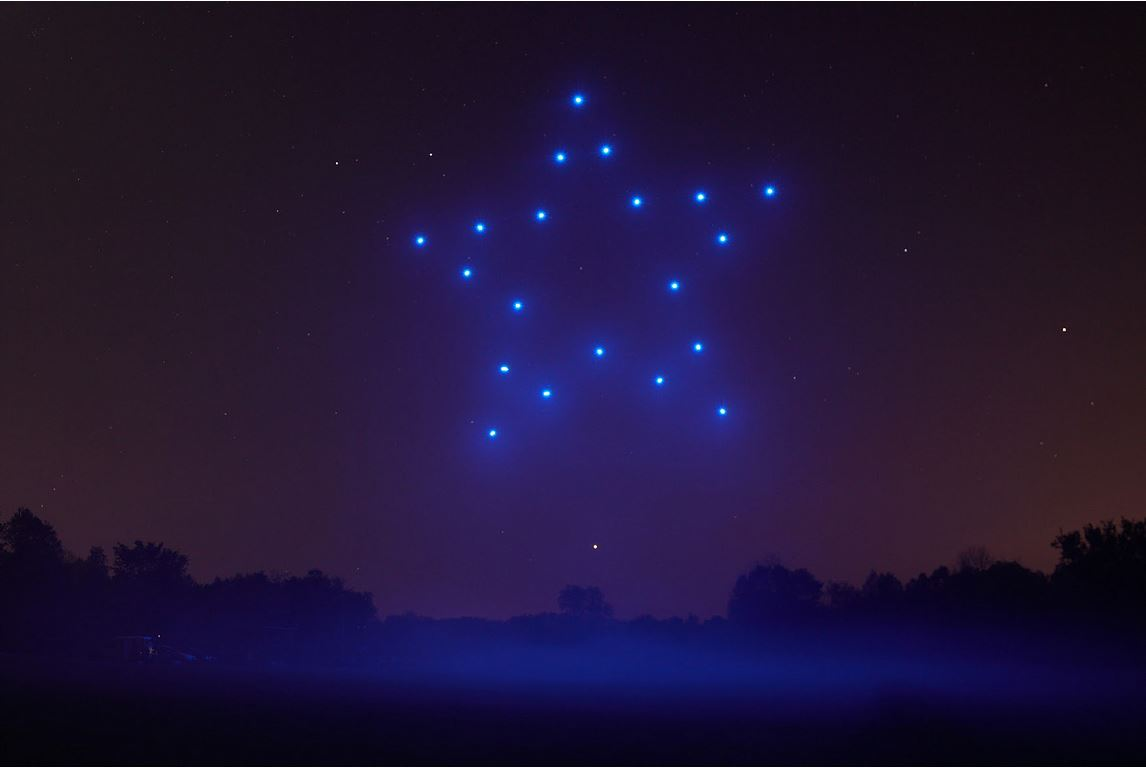 firefly drones make a star shape in sky