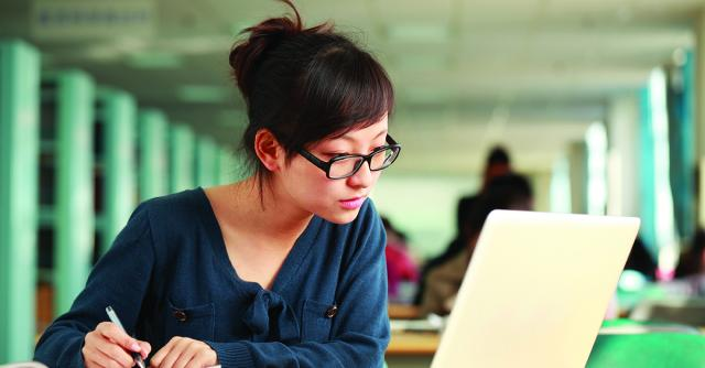 Photo of a student studying online