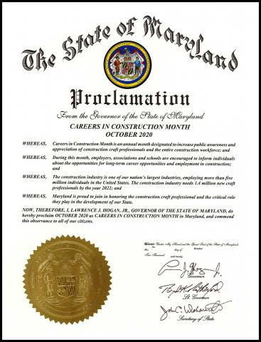 Careers in Construction Month proclamation