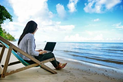 Woman Beach Laptop