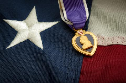 Photo commemorating Purple Heart Day August 7